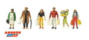 Aneste - Personas con compras, 6 Figuras, Escala H0, Ref: 4113.
