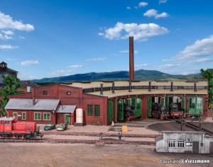 Vollmer - Deposito de locomotoras de seis cocheras, Epoca II, Escala H0, Ref: 45758.