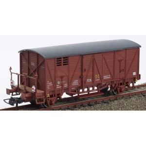 K*train - Vagón cerrado con balconcillo, Tipo 300000, Rojo oxido, Luces de cola Funcionales, Escala H0, Ref: 0703-Q.