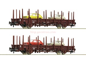 Roco - Set de dos plataformas tipo Kbs, DB, carga de Seat 127, Epoca IV. Escala H0, Ref: 67086.