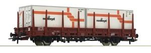 Roco - Vagón portacontenedor NS, de ejes, Nedlloyd, Epoca IV, Escala H0. Ref: 76962.