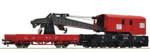 Roco - Grua de gran intervención con vagón de apoyo, DB AG, Epoca V, Escala H0, Ref: 56240.