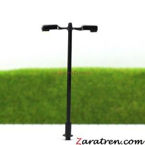 Zaratren - Farola metalica de ciudad de dos focos, Tipo 25, Tecnologia LED, Escala N, Ref: ZT-FR2054