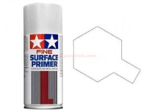 Tamiya - Spray Surface Primer blanco,L. Grano superfino, para plástico y metal. Bote 180 ml, Ref: 87044.