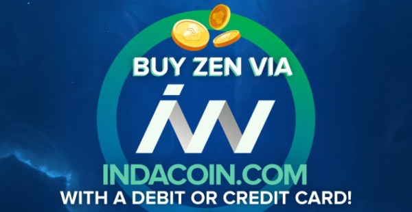 buy zen via indacoin with a debit or credit card