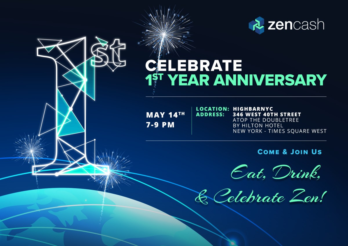 ZenCash is throwing a party in celebration of its first anniversary and you are invited!