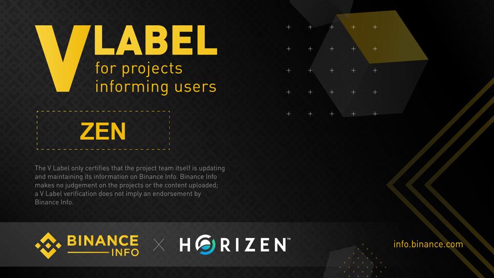 Horizen (ZEN) Officially Joins Binance Info Transparency Initiative - V Label Verified