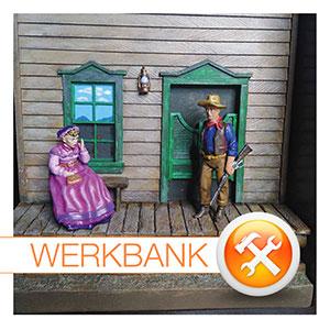 Westernszene in 54 mm von Andrea Miniatures - gebaut und bemalt von Tom Neubürger