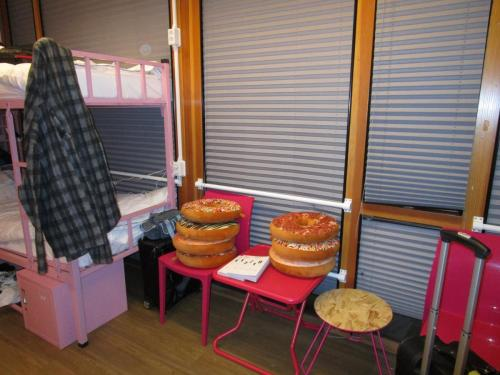 All the hostel rooms have themes - cool daring women stuff, even one kink one. Mine? Donuts
