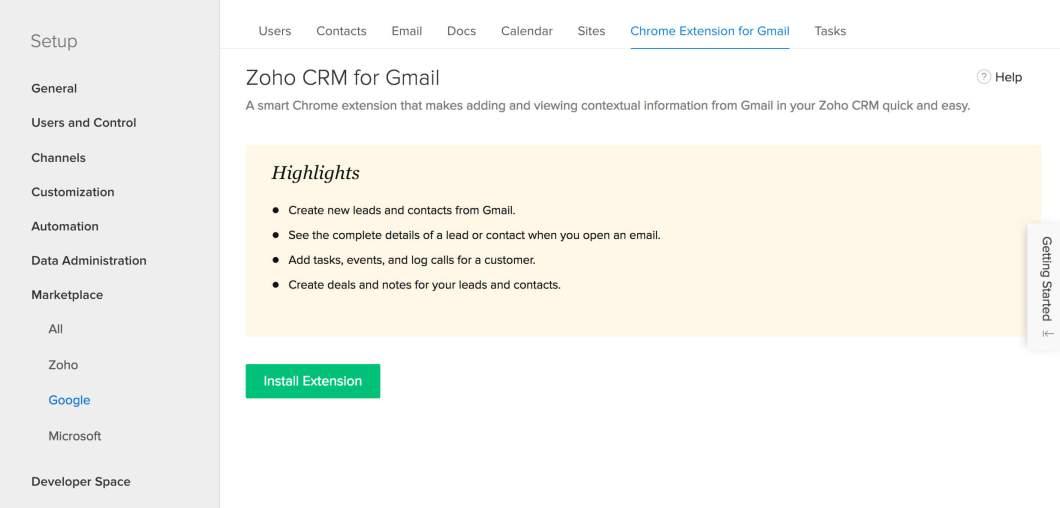 Visite o Zoho CRM para instalar o Zoho CRM for Gmail do Chrome