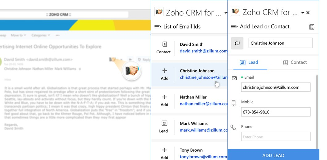 Gerenciar leads e contatos no Zoho CRM