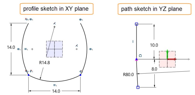 Figure 6. Create a profile sketch and a path sketch