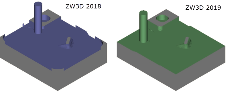 Figure 7. Residue comparison after big-step roughing