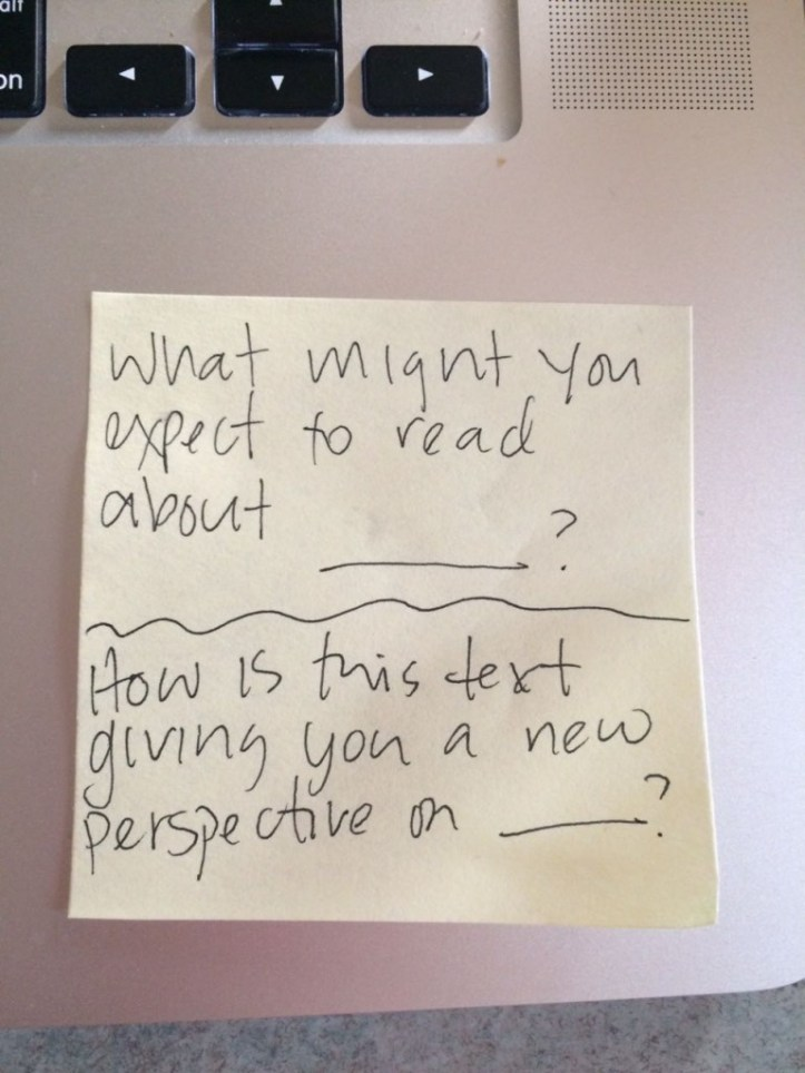 Some sentence starters that lend themselves to bridging personal connections to text, or not.