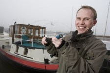 Oliver Ax, owner of Amsterdam's first connected houseboat