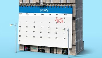 A calendar with rent due marked on it