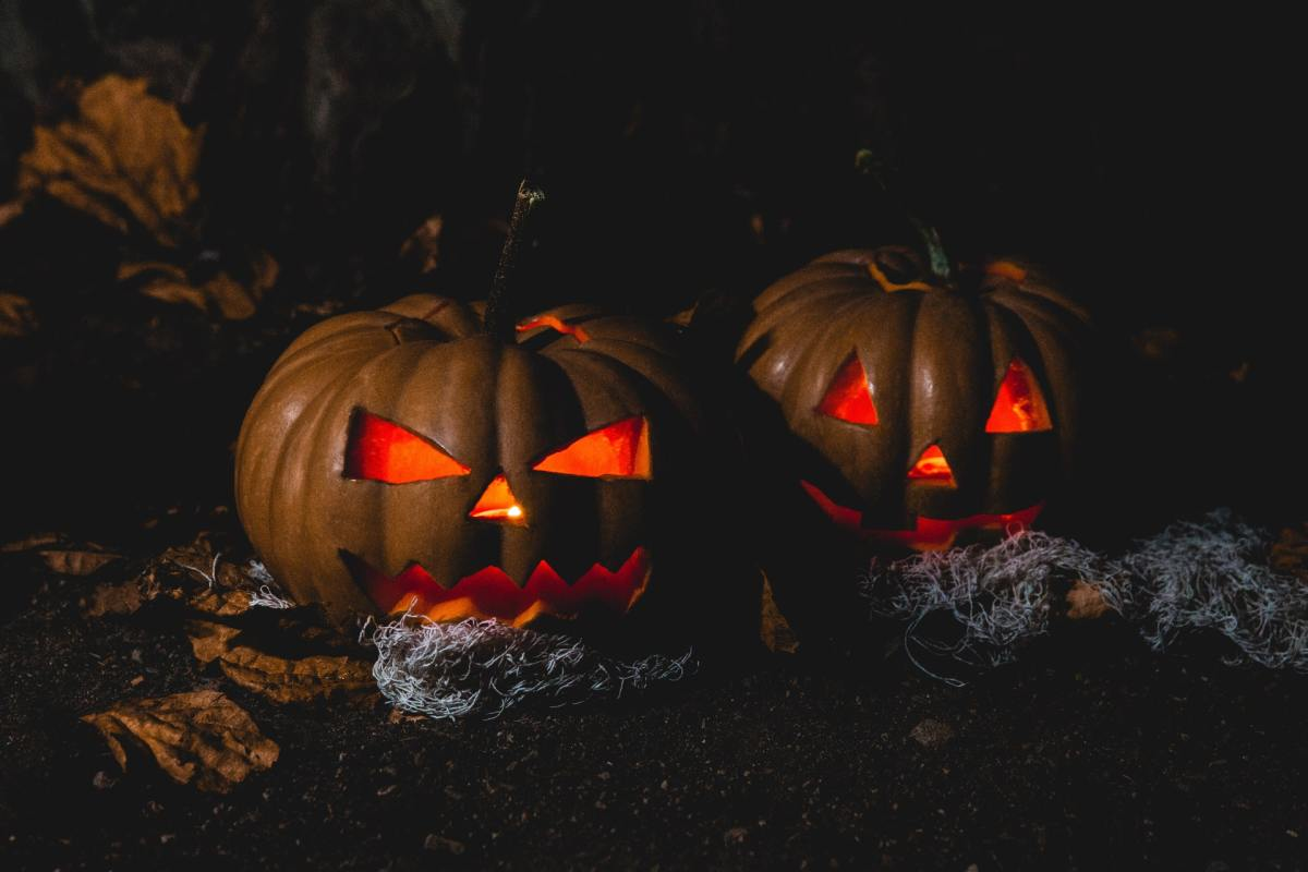 Two Halloween pumpkins lit up from the inside