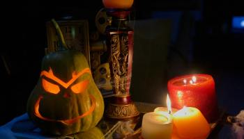 Pumpkins and candles used as Halloween decorations