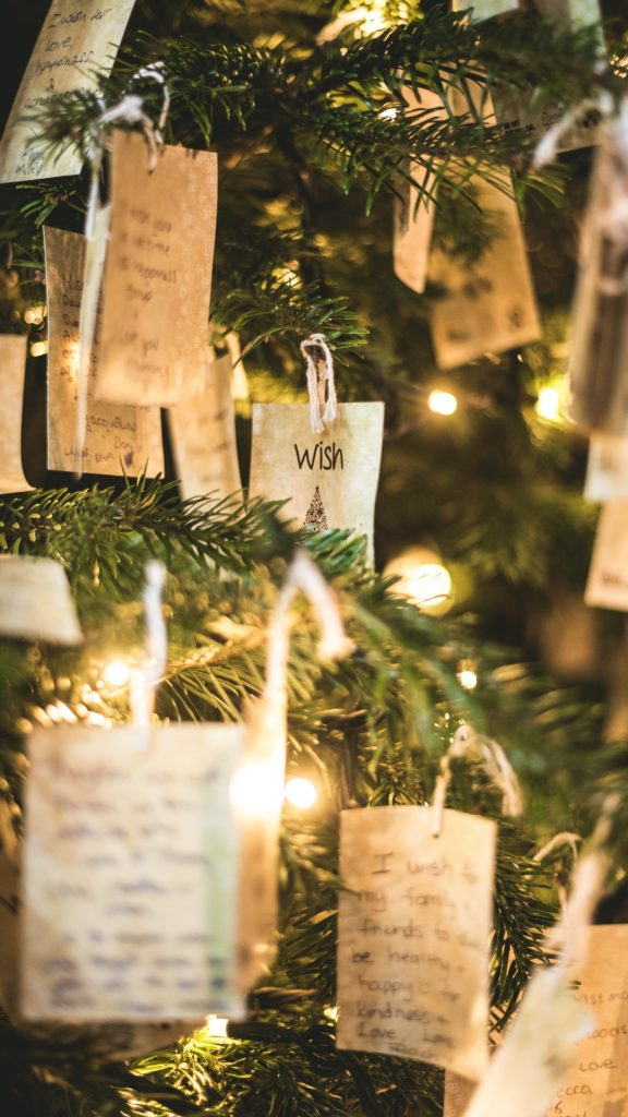 Inspirational Christmas Quotes and wishes on a Christmas tree