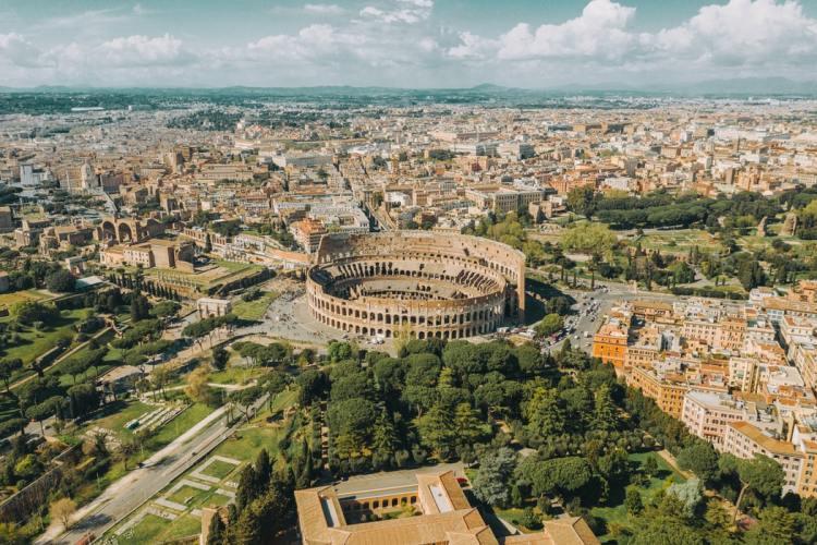 Aerial shot of the colloseum