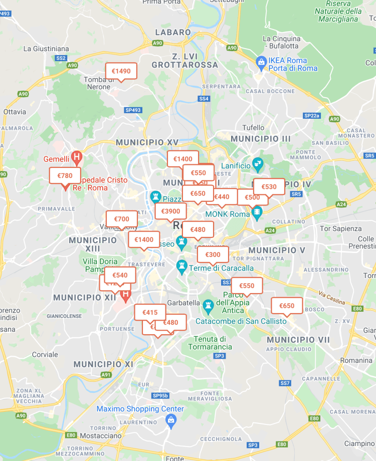Find rooms for rent in Rome