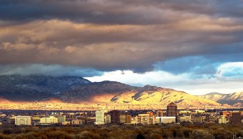 Shot of Albuquerque with mountains in the background