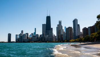Waterside and the skyline of Chicago