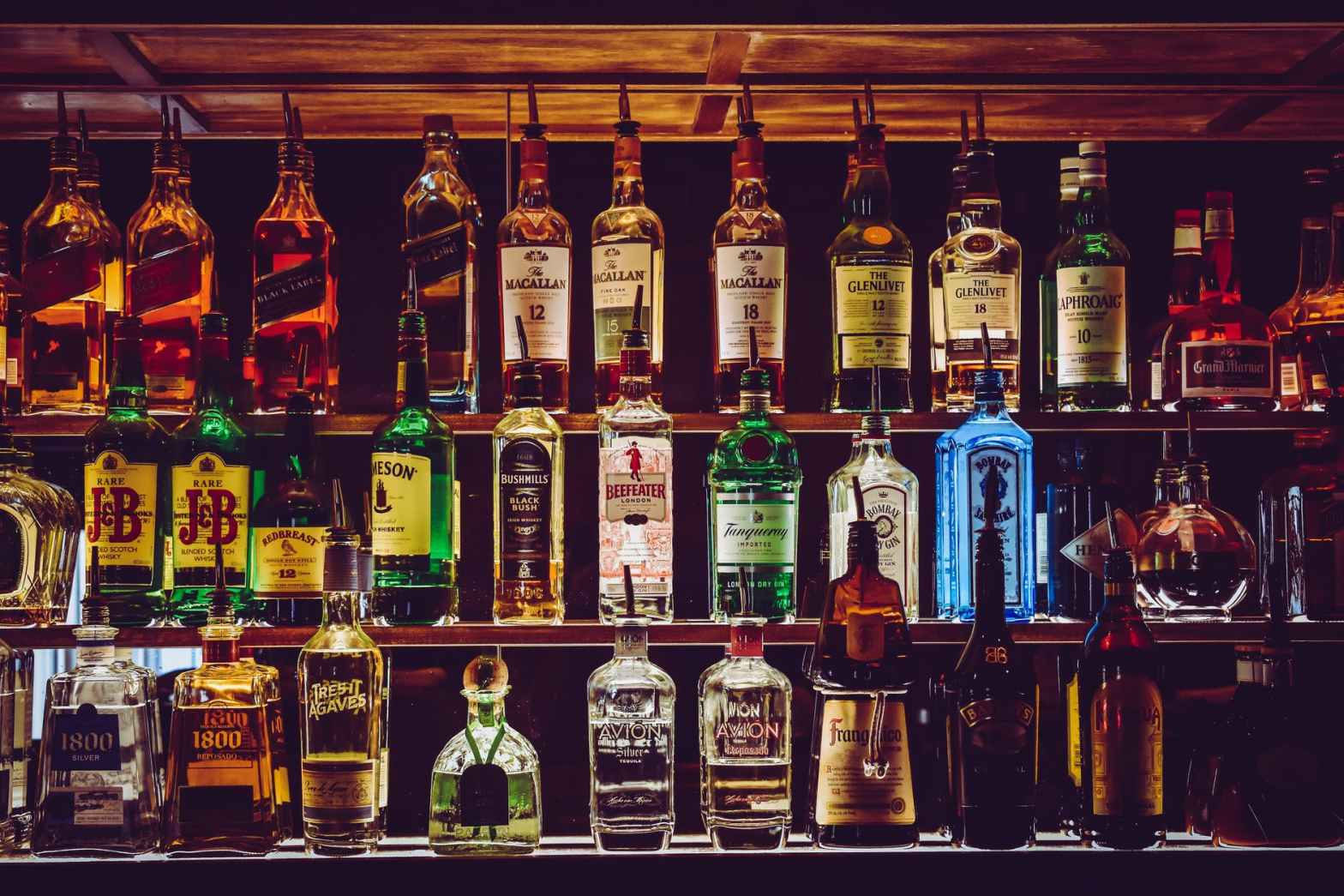 Alcohol Bottles kept in a bar at Brooklyn