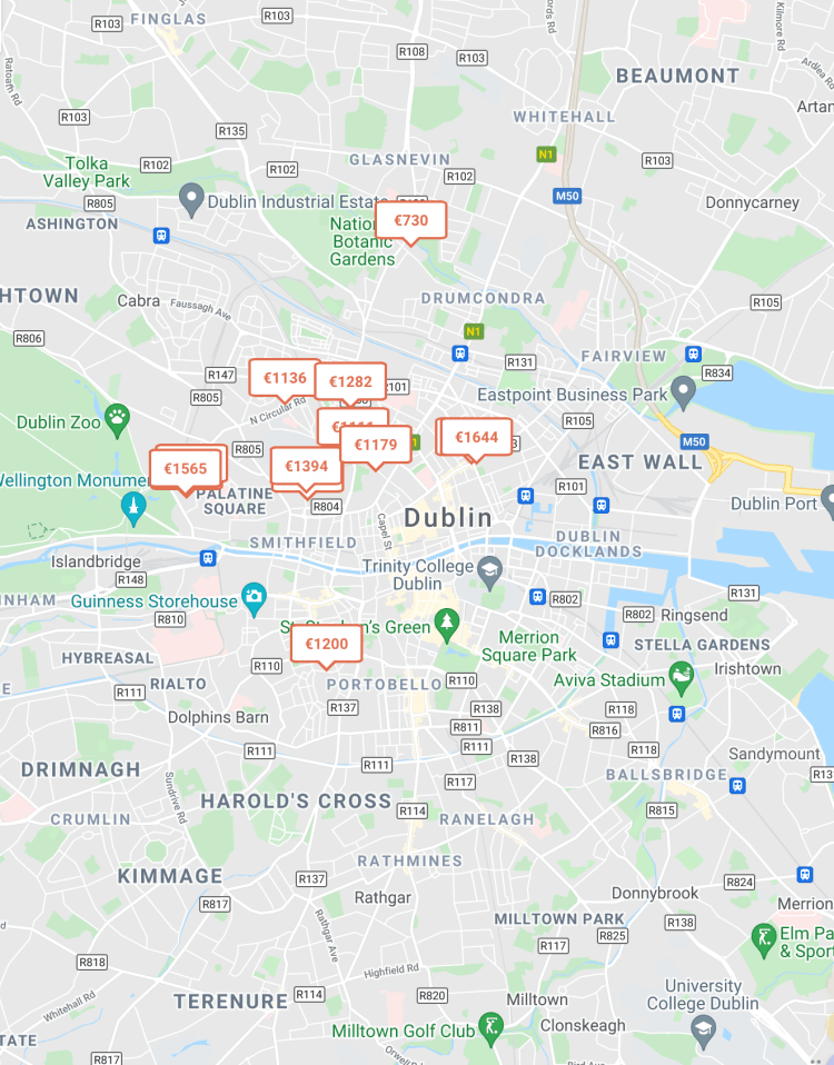 Find Rooms for Rent In Dublin, Map