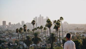 student overlooking view of los angeles