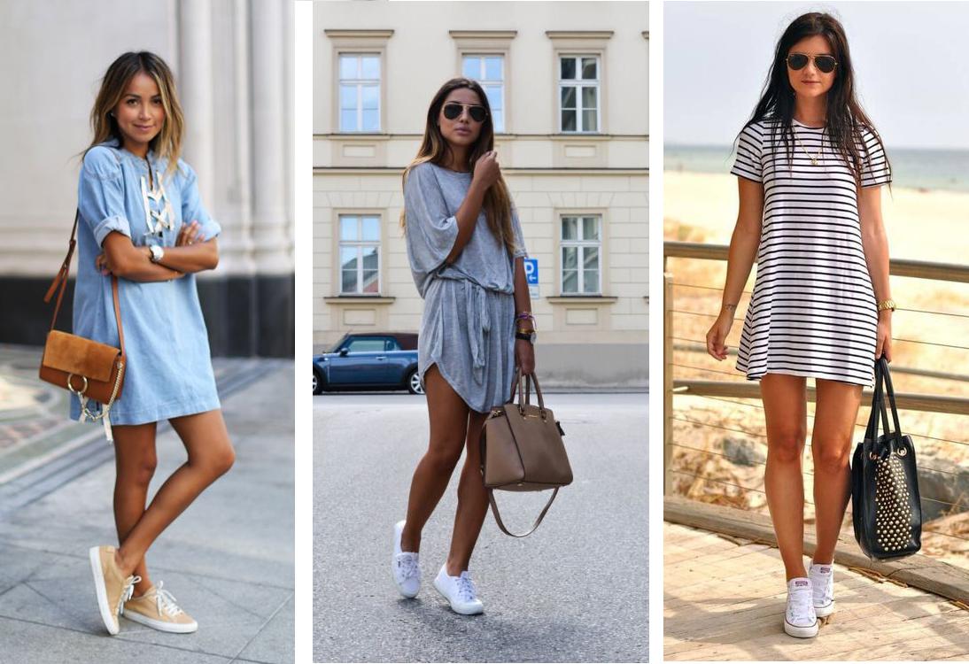 robe et sneakers