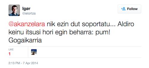 Igor Elortzaren iritzia Twitterren
