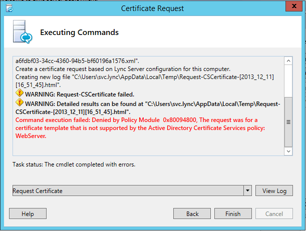 Certificate template for lync image collections certificate command execution failed denied by policy module 0x80094800 the command execution failed denied by policy module yadclub Images