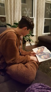 Zach read Huggly's Christmas, with Booter and Grubble.