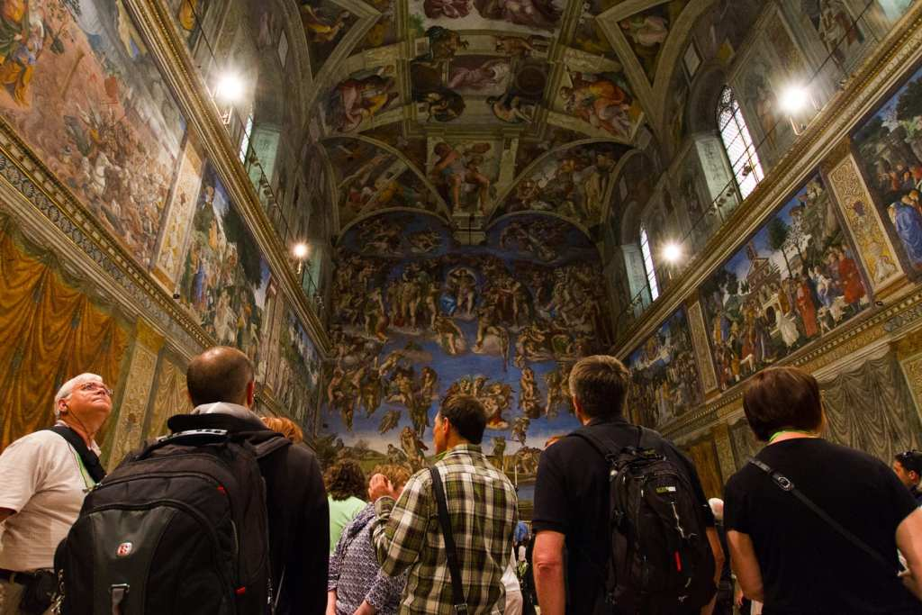 Crowds admire the Sistine Chapel