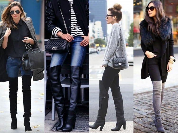 Bota over the knee com calca jeans e sarja preta
