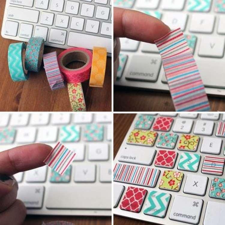 Washi Tape no teclado notebook