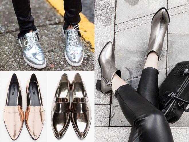 post sobre a tendência verão 2016 e 2017 na moda usando roupas, sapatos e bolsas metalizados
