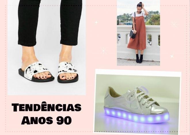tendências de moda dos anos 90 para a primavera/verão 2016/2017: slider, tênis com led e vestido de alça com camiseta