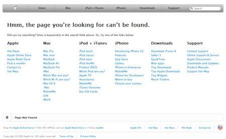 La página de error de Apple