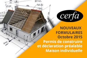 Nouveaux formulaires Cerfa PC et DPT maison individuelle 2015