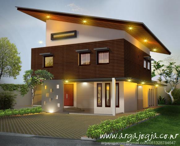 Desain Fasad Unik Minimalis Tropis Rumah 2 Lantai Atap Miring
