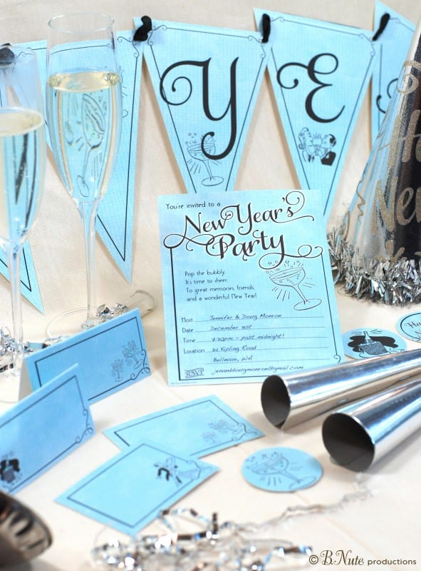 Printable New Year's Eve Collection via Mandy's Party Printables by B. Nute Productions via Catch My Party