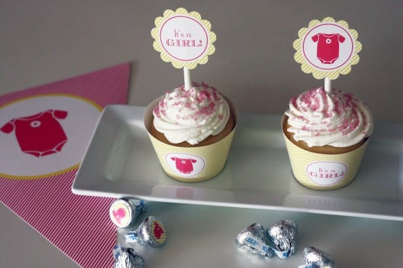 Pink baby shower printables, circle stickers, banners, and cupcake toppers