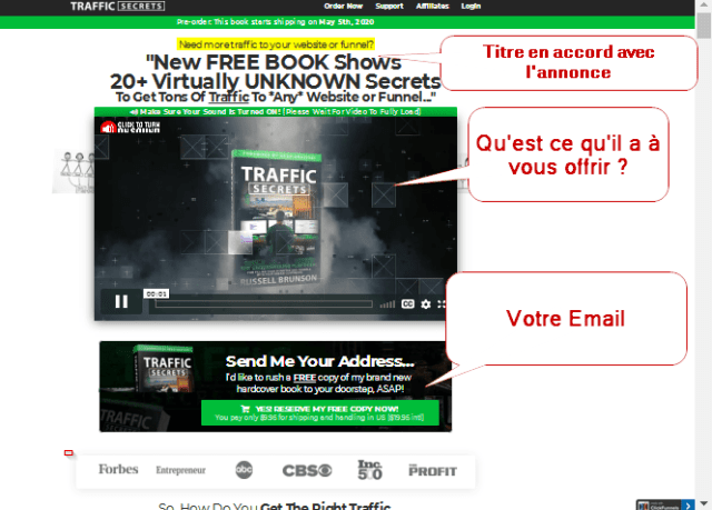 exemple page de capture d'un tunnel de vente