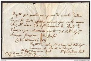 lettera di cambio 1859