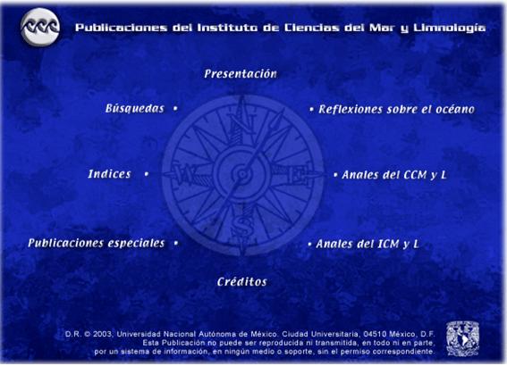 Pagina principal de las publicaciones del Instituto de Ciencias del Mar y Limnología