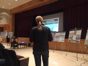 A resident addresses concerns over the proposed Concord Avenue route for the Community Path at a meeting Nov. 16. Come speak out in favor of a safe, off road path on Dec. 7!