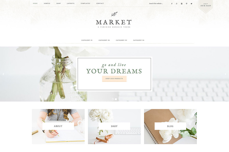 market feminine wordpress theme