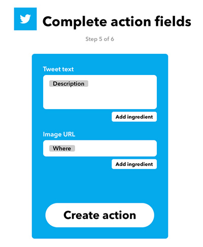 complete action fields on IFTTT